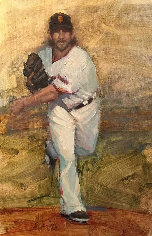 Madison Bumgarner Art Print featuring the painting Madbum Warmup Sketch by Darren Kerr