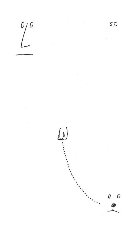 115356 Sst Saul Steinberg (face And Hand Of A Man Walks The Face Of A Dog.) Animals Best Canines Dog Doggie Dogs Face Friend Hand Invisible Man Man's Pet Pets Pooch Puppies Puppy Walk Walking Walks Art Print featuring the drawing New Yorker July 31st, 1954 by Saul Steinberg