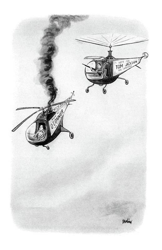 No Caption (two Helicopters Sporting Campaign Signs On The Side Art Print featuring the drawing New Yorker October 4th, 1952 by Eldon Dedini
