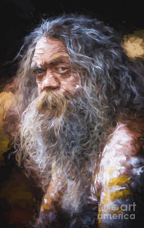 Australian Aboriginal Art Print featuring the photograph Portrait of an aboriginal by Sheila Smart Fine Art Photography