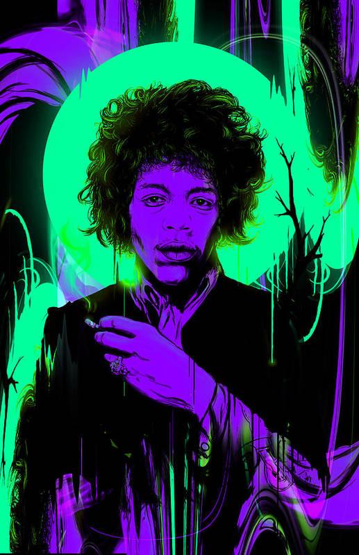 Jimi Art Print featuring the digital art Purple Haze by Nicebleed