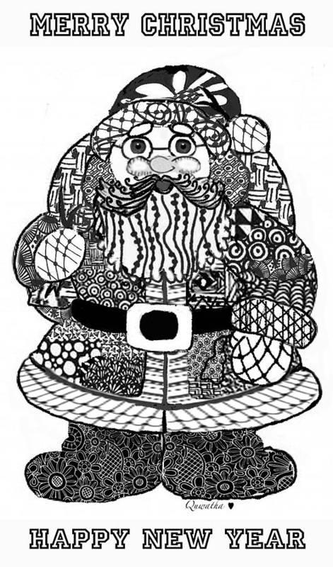 Zentangle Art Print featuring the digital art Tangled Santa by Quwatha Valentine