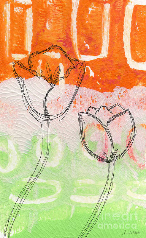 Abstract Art Print featuring the mixed media Tulips by Linda Woods