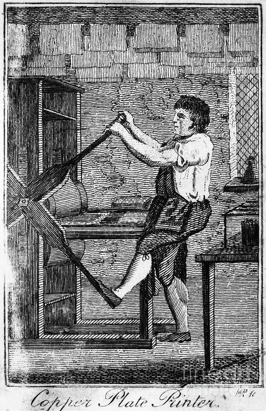 1807 Art Print featuring the photograph Copper Plate Printer, 1807 by Granger