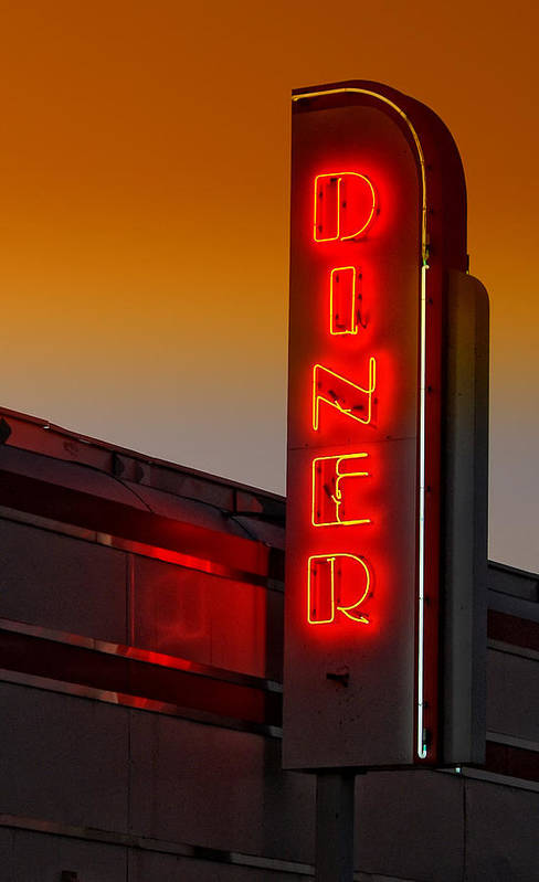 Diner Art Print featuring the photograph Twilight Diner by Brian Mollenkopf