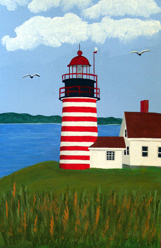 Lighthouse Paintings Art Print featuring the painting West Quoddy Head Lighthouse by Frederic Kohli