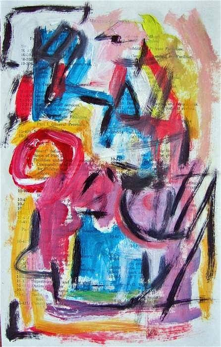 Abstract Art Art Print featuring the painting Abstract On Paper No. 27 by Michael Henderson