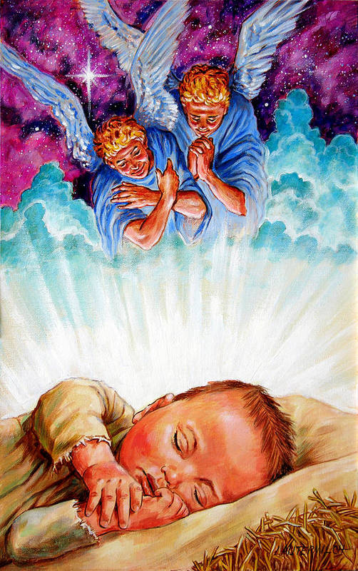 Baby Jesus Art Print featuring the painting Adore Your Saviour by John Lautermilch