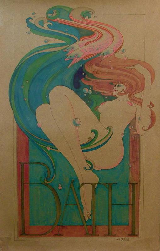 Female Art Print featuring the painting Bath by Gary Kaemmer