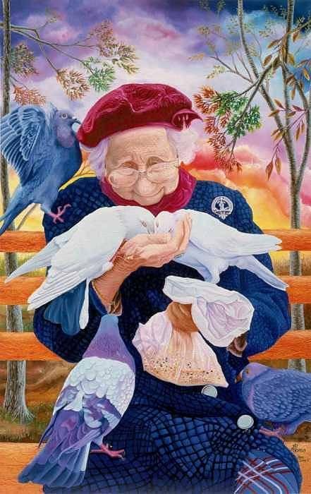 Super Detailed Lady With 5 Pegeons At Manhattan Park Art Print featuring the painting Bird Lady 2 by Benito Alonso