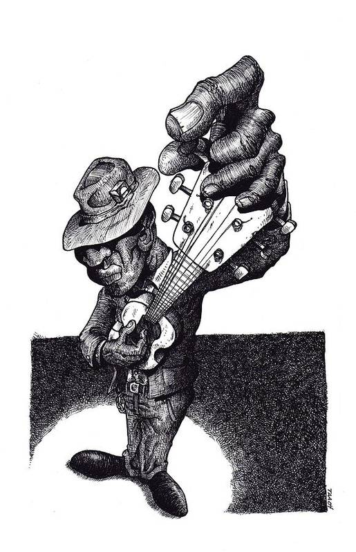 Blues Art Print featuring the drawing Blues Guitar by Tobey Anderson