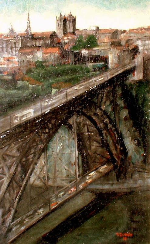 Porto Art Print featuring the painting Bridge Luis I-Oporto by Tomas Castano