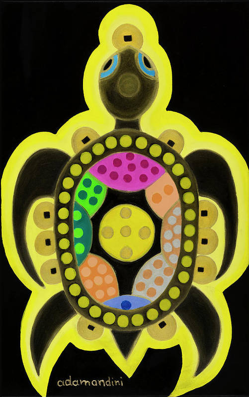 Celestial Black Turtle Art Print featuring the painting Celestial black turtle by Adamantini Feng shui