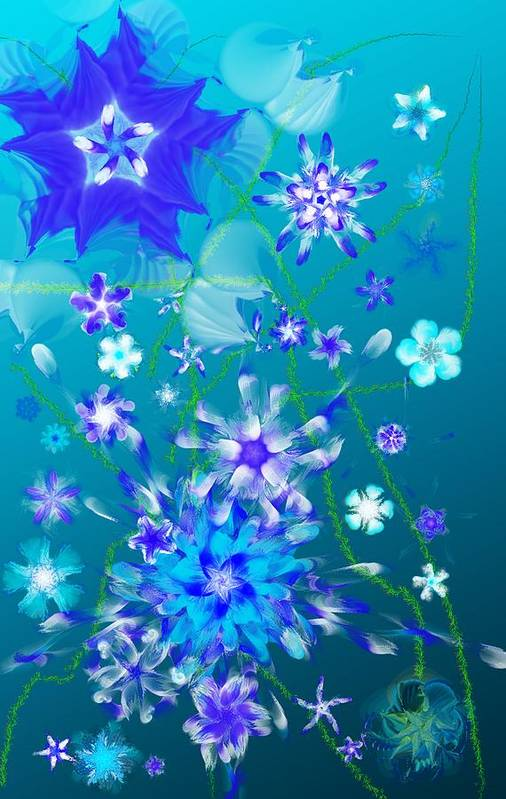Floral Art Print featuring the digital art Floral fantasy 121910 by David Lane