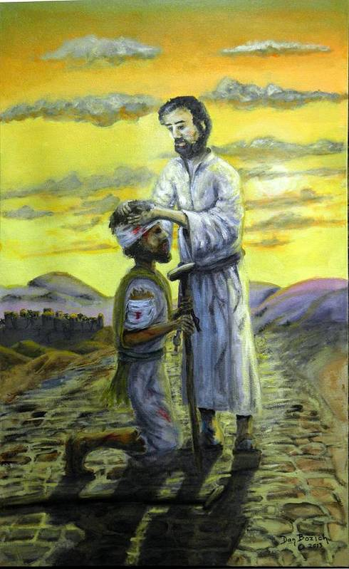 St. Luke Art Print featuring the painting Healing Hands by Dan Bozich
