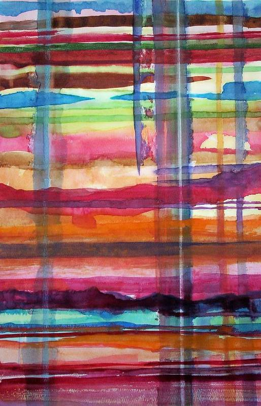 Abstract Art Print featuring the painting Layered by Suzanne Udell Levinger