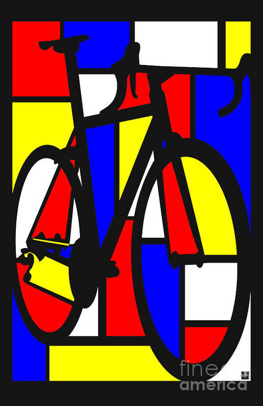 Bicycle Art Print featuring the painting Mondrianesque Road bike by Sassan Filsoof