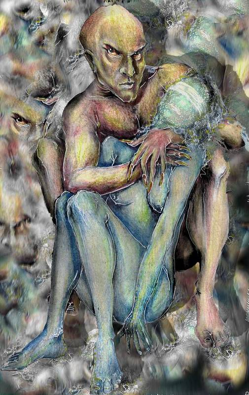 Demons Love Passion Control Posession Woman Lust Art Print featuring the mixed media My Precious by Veronica Jackson