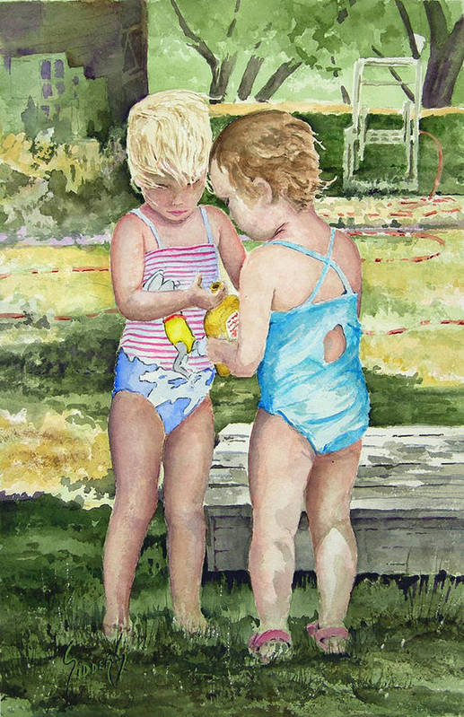 Children Art Print featuring the painting Pals Share by Sam Sidders