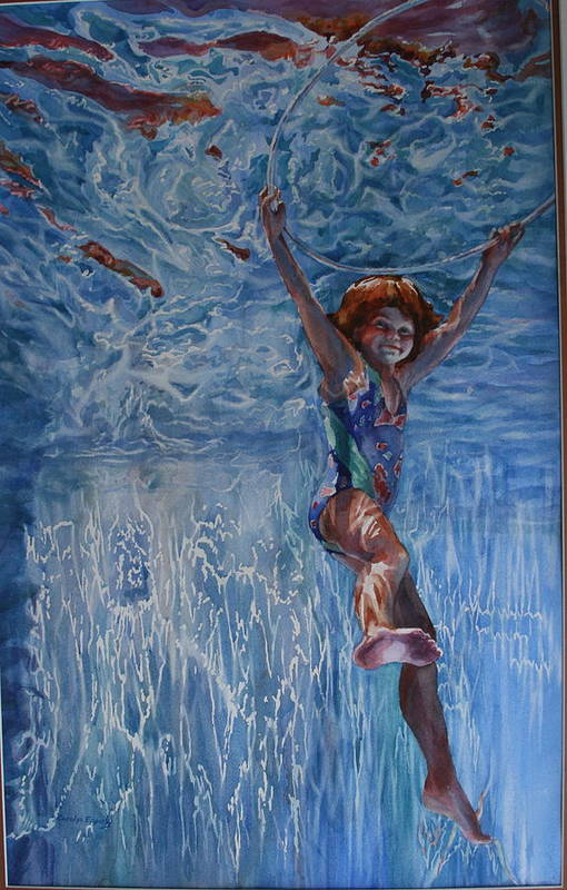 Figure Art Print featuring the painting Pool Angel by Carolyn Epperly
