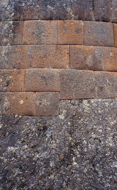 Inca Art Print featuring the photograph Red Stone Bricks by Marcus Best