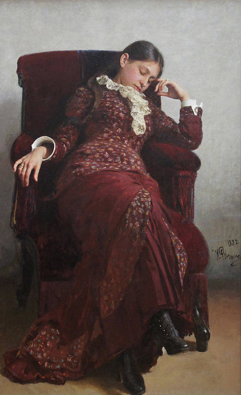 Ilya Repin Art Print featuring the painting Rest. Portrait of Vera Repina, the Artist's Wife. by Ilya Repin