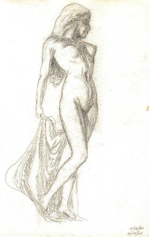 Nudes Art Print featuring the painting Sketch Model 9 by Benito Alonso