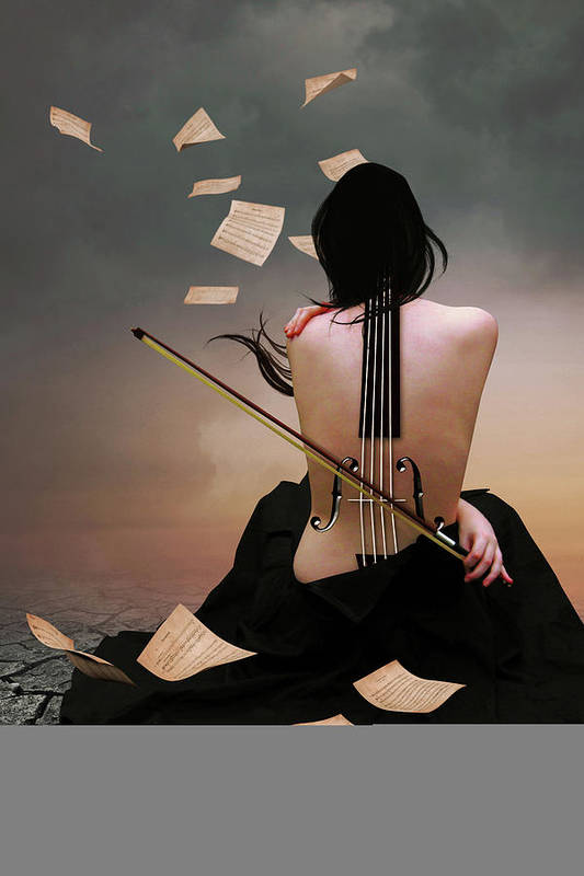 Surreal Art Print featuring the digital art Violin Woman by Mihaela Pater