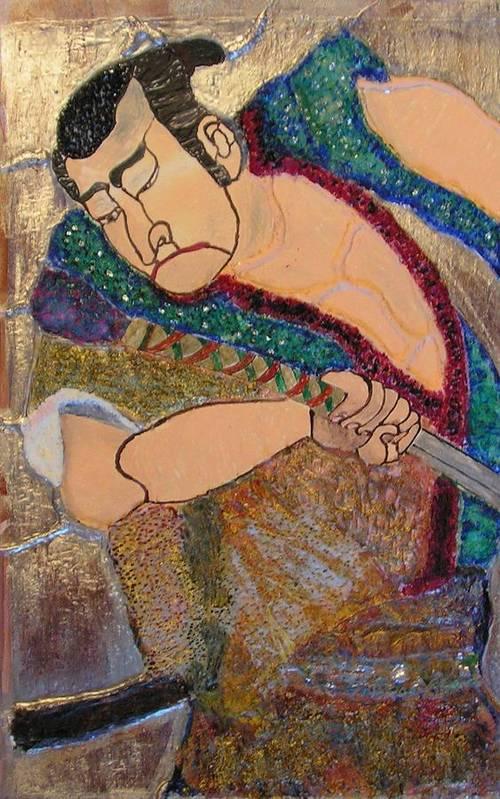 Figure Art Print featuring the mixed media Warrior by John Vandebrooke