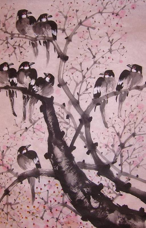 Chinese Water-color Painting Art Print featuring the painting Winter by Anita Lau