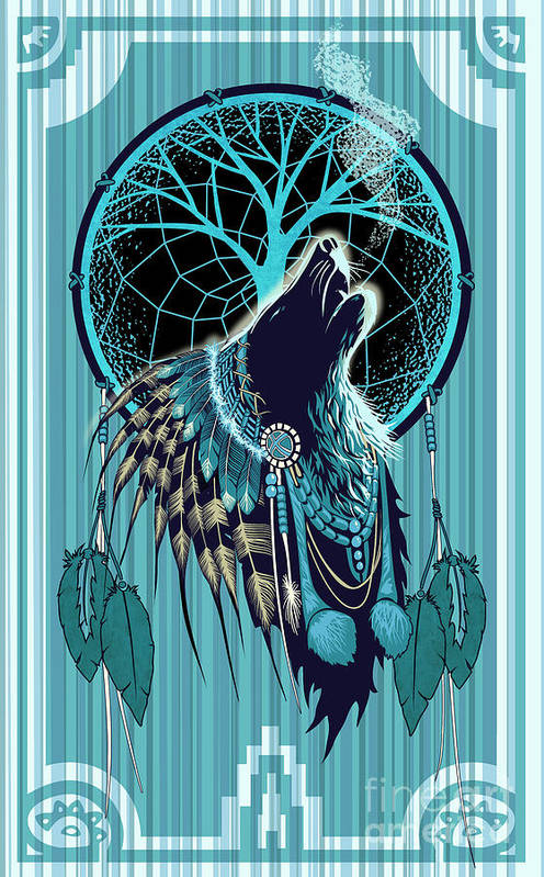 Wolf Art Print featuring the painting Wolf Indian Shaman by Sassan Filsoof