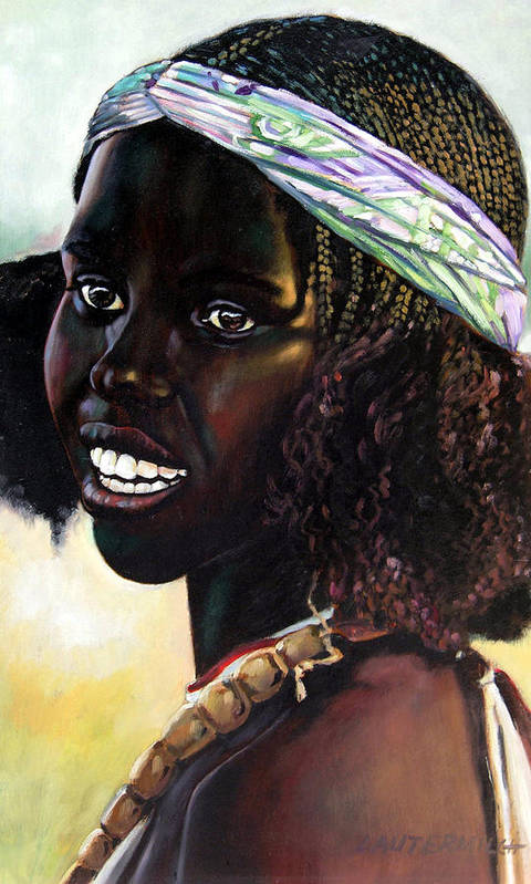 Young Black African Girl Art Print featuring the painting Young Black African Girl by John Lautermilch
