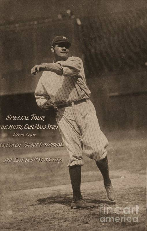 People Art Print featuring the photograph Babe Ruth Special Tour Postcard by Transcendental Graphics
