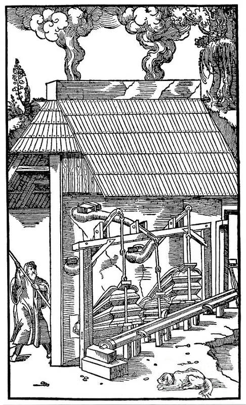 Bellows Art Print featuring the drawing Bellows Supplying Draught To A Smelting by Print Collector
