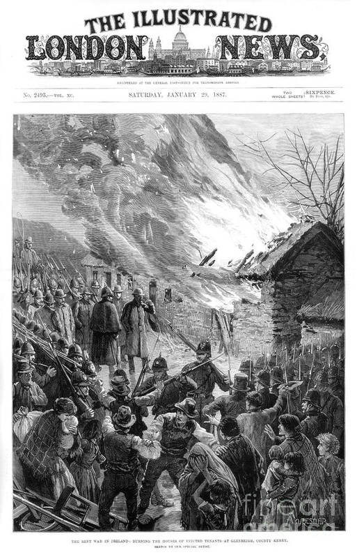 Engraving Art Print featuring the drawing Burning The Houses Of Evicted Tenants by Print Collector