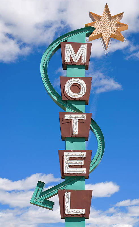 In A Row Art Print featuring the photograph Classic Motel Sign by Elementalimaging