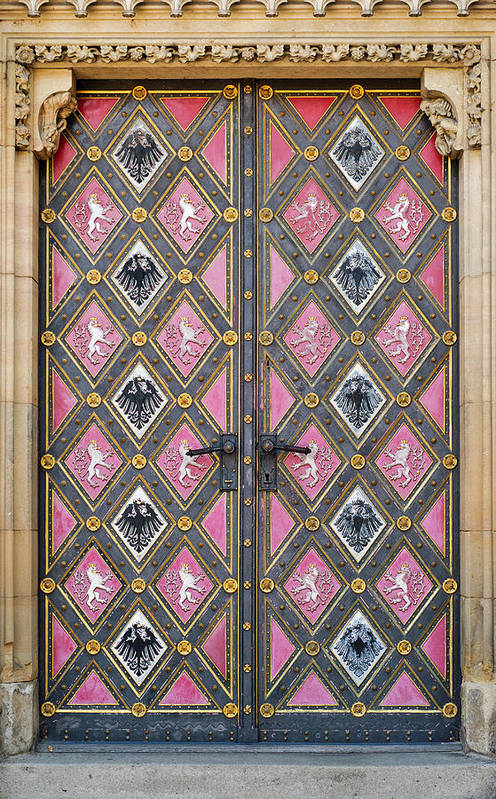 Architectural Feature Art Print featuring the photograph Closed Decorated Cathedral Door by Lvv