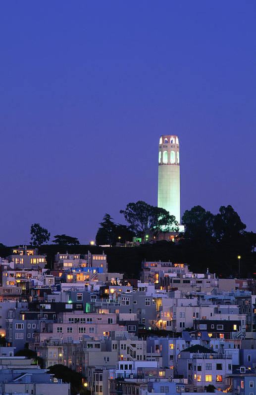 San Francisco Art Print featuring the photograph Coit Tower, Telegraph Hill At Dusk, San by Thomas Winz