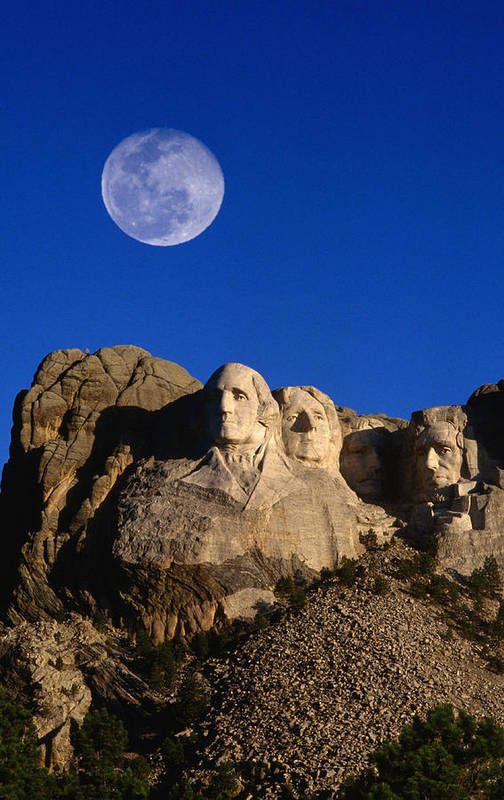 Mt Rushmore National Monument Art Print featuring the photograph Daytime Moon Above Presidential Faces by Mark Newman