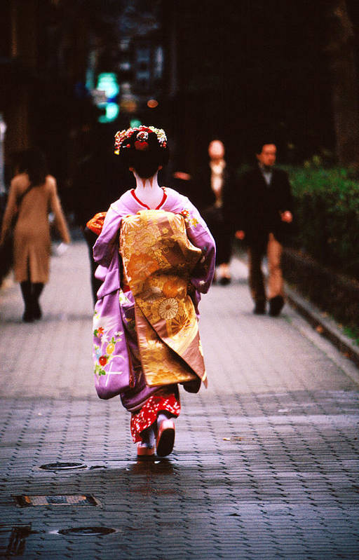 Headwear Art Print featuring the photograph Geisha In Kimono Walking Away, Pontocho by Lonely Planet