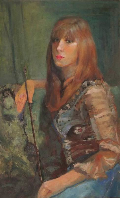 Girl Art Print featuring the painting Girl With Bow by Irena Jablonski