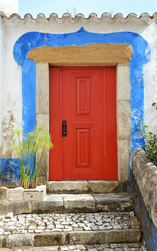 Steps Art Print featuring the photograph House With Red Door by Brytta