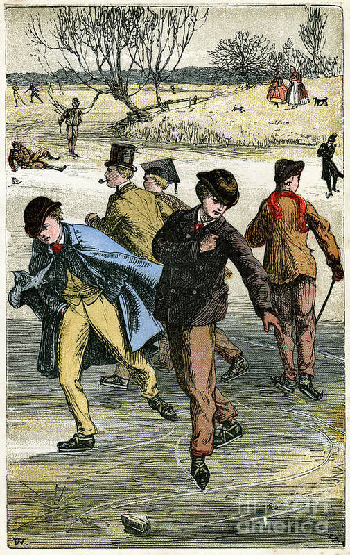 Engraving Art Print featuring the drawing Ice Skating, 19th Century by Print Collector