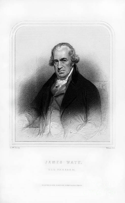 Engraving Art Print featuring the drawing James Watt, Scottish Inventor by Print Collector