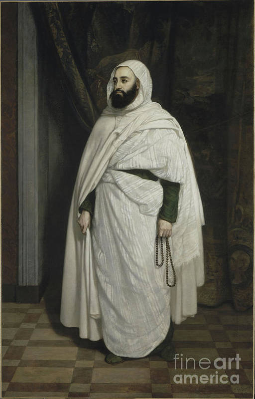 Oil Painting Art Print featuring the drawing Portrait Of Abdelkader Ibn Muhieddine by Heritage Images