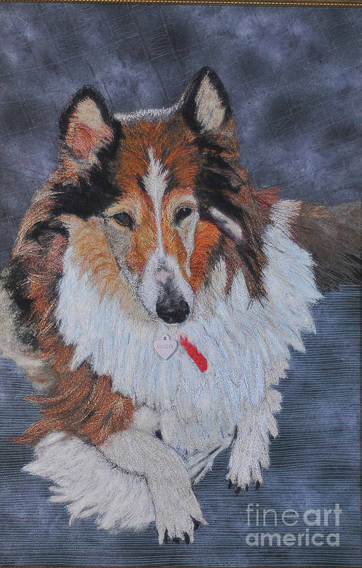 Rough Collie Art Print featuring the tapestry - textile rough Collie by Dolores Fegan