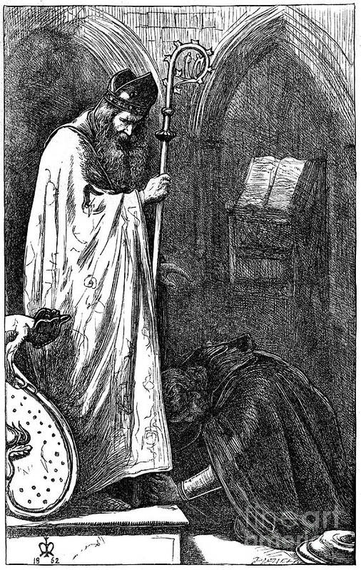 Pre-raphaelite Art Print featuring the drawing The Bishop And The Knight, 1862. Artist by Print Collector