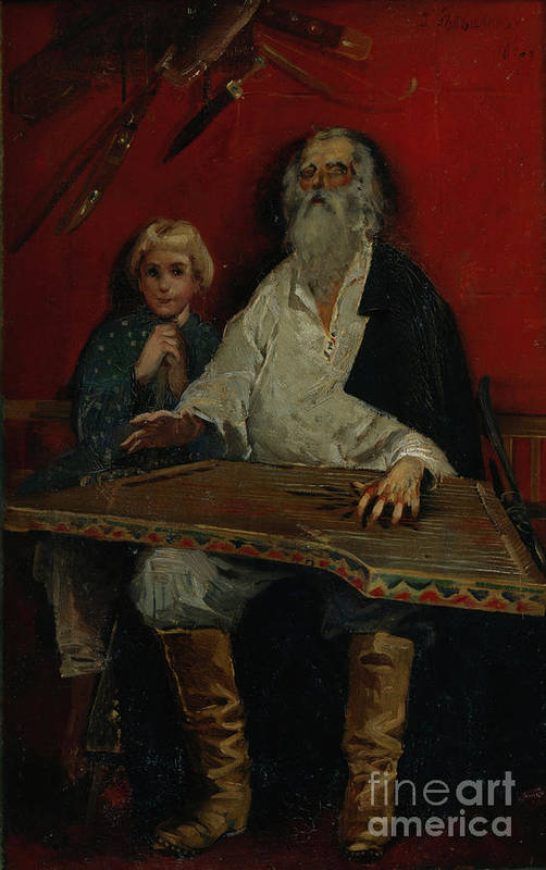 Oil Painting Art Print featuring the drawing The Gusli Player. Artist Ryabushkin by Heritage Images