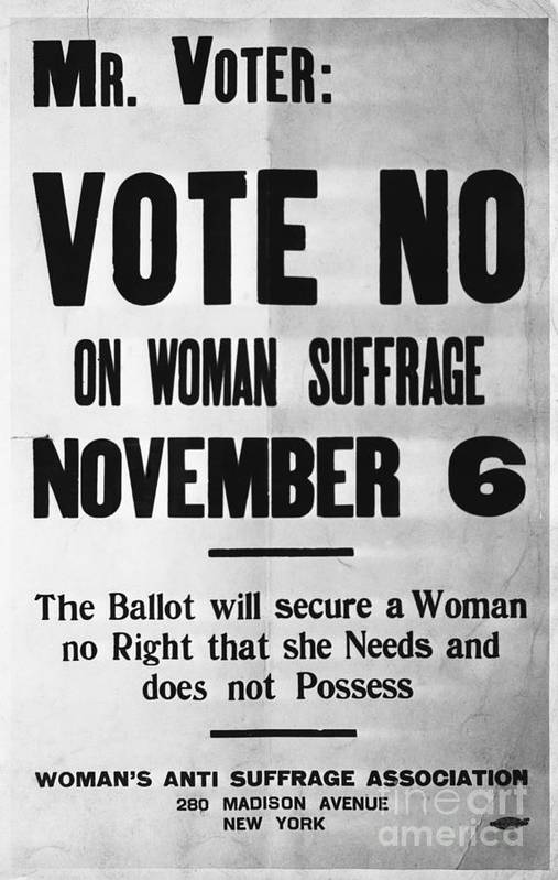 Social Issues Art Print featuring the photograph Womans Anti-suffrage Association Poster by Bettmann