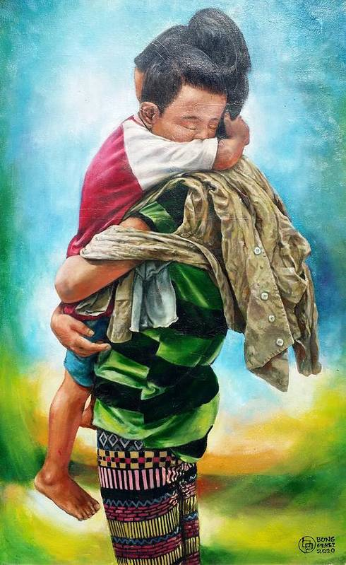 Urban Life Art Print featuring the painting A Mother's Love by Bong Perez